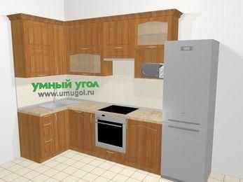 Угловая кухня МДФ матовый в классическом стиле 6,3 м², 120 на 300 см (зеркальный проект), Вишня, верхние модули 92 см, посудомоечная машина, верхний модуль под свч, встроенный духовой шкаф, холодильник
