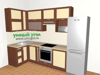 Угловая кухня из рамочного МДФ 6,3 м², 1200 на 3000 мм (зеркальный проект), Вишня темная / Крем, верхние модули 920 мм, посудомоечная машина, верхний витринный модуль под свч, встроенный духовой шкаф, холодильник