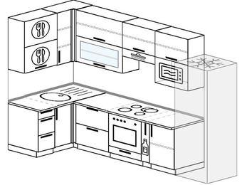 Угловая кухня 6,3 м² (1,2✕3,0 м), верхние модули 920 мм, верхний витринный модуль под свч, встроенный духовой шкаф, холодильник