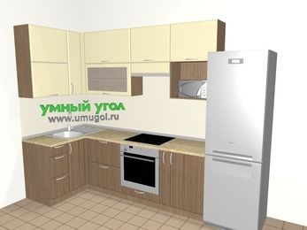 Угловая кухня МДФ матовый 6,3 м², 1200 на 3000 мм (зеркальный проект), Ваниль / Лиственница бронзовая, верхние модули 920 мм, верхний витринный модуль под свч, встроенный духовой шкаф, холодильник