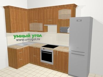 Угловая кухня МДФ матовый в классическом стиле 6,3 м², 120 на 300 см (зеркальный проект), Вишня, верхние модули 92 см, верхний модуль под свч, встроенный духовой шкаф, холодильник