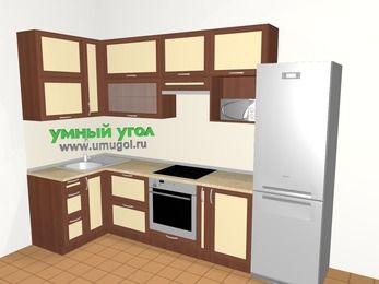 Угловая кухня из рамочного МДФ 6,3 м², 1200 на 3000 мм (зеркальный проект), Вишня темная / Крем, верхние модули 920 мм, верхний витринный модуль под свч, встроенный духовой шкаф, холодильник