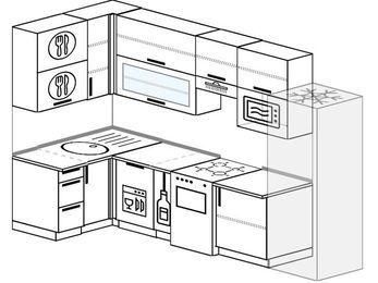 Угловая кухня 6,3 м² (1,2✕3,0 м), верхние модули 920 мм, посудомоечная машина, верхний витринный модуль под свч, холодильник, отдельно стоящая плита