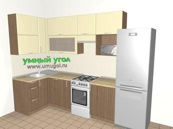 Угловая кухня МДФ матовый 6,3 м², 1200 на 3000 мм (зеркальный проект), Ваниль / Лиственница бронзовая, верхние модули 920 мм, посудомоечная машина, верхний витринный модуль под свч, холодильник, отдельно стоящая плита