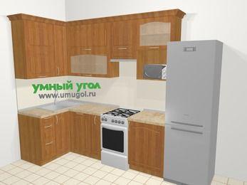Угловая кухня МДФ матовый в классическом стиле 6,3 м², 120 на 300 см (зеркальный проект), Вишня, верхние модули 92 см, посудомоечная машина, верхний модуль под свч, холодильник, отдельно стоящая плита