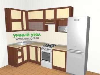 Угловая кухня из рамочного МДФ 6,3 м², 1200 на 3000 мм (зеркальный проект), Вишня темная / Крем, верхние модули 920 мм, посудомоечная машина, верхний витринный модуль под свч, холодильник, отдельно стоящая плита