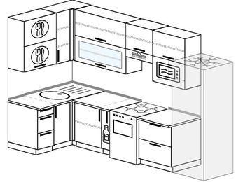 Угловая кухня 6,3 м² (1,2✕3,0 м), верхние модули 920 мм, верхний витринный модуль под свч, холодильник, отдельно стоящая плита