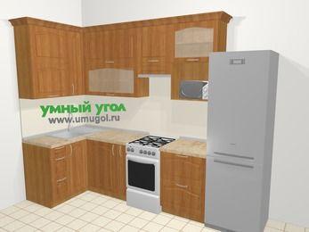 Угловая кухня МДФ матовый в классическом стиле 6,3 м², 120 на 300 см (зеркальный проект), Вишня, верхние модули 92 см, верхний модуль под свч, холодильник, отдельно стоящая плита