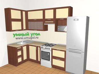 Угловая кухня из рамочного МДФ 6,3 м², 1200 на 3000 мм (зеркальный проект), Вишня темная / Крем, верхние модули 920 мм, верхний витринный модуль под свч, холодильник, отдельно стоящая плита