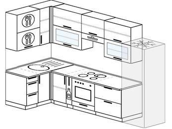 Угловая кухня 6,3 м² (1,2✕3,0 м), верхние модули 920 мм, встроенный духовой шкаф, холодильник