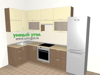 Угловая кухня МДФ матовый 6,3 м², 1200 на 3000 мм (зеркальный проект), Ваниль / Лиственница бронзовая, верхние модули 920 мм, встроенный духовой шкаф, холодильник