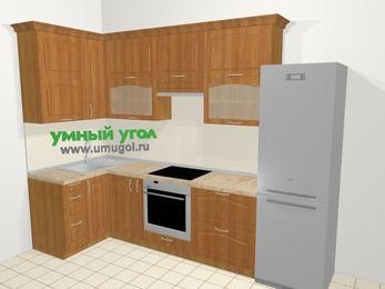 Угловая кухня МДФ матовый в классическом стиле 6,3 м², 120 на 300 см (зеркальный проект), Вишня, верхние модули 92 см, встроенный духовой шкаф, холодильник