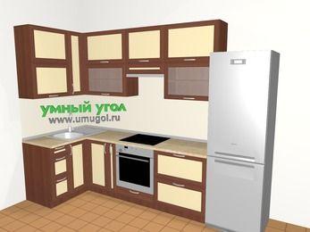 Угловая кухня из рамочного МДФ 6,3 м², 1200 на 3000 мм (зеркальный проект), Вишня темная / Крем: верхние модули 920 мм, корзина-бутылочница, встроенный духовой шкаф, холодильник