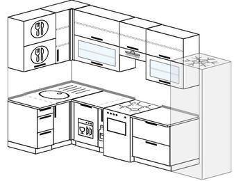 Угловая кухня 6,3 м² (1,2✕3,0 м), верхние модули 920 мм, посудомоечная машина, холодильник, отдельно стоящая плита