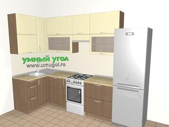 Угловая кухня МДФ матовый 6,3 м², 1200 на 3000 мм (зеркальный проект), Ваниль / Лиственница бронзовая, верхние модули 920 мм, посудомоечная машина, холодильник, отдельно стоящая плита