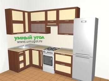 Угловая кухня из рамочного МДФ 6,3 м², 1200 на 3000 мм (зеркальный проект), Вишня темная / Крем, верхние модули 920 мм, посудомоечная машина, холодильник, отдельно стоящая плита