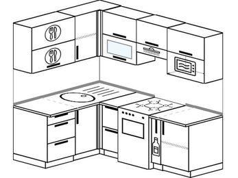 Угловая кухня 5,0 м² (1,4✕2,0 м), верхние модули 72 см, верхний модуль под свч, отдельно стоящая плита