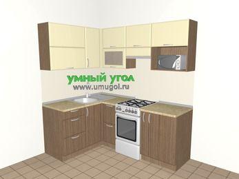 Угловая кухня МДФ матовый 5,0 м², 1400 на 2000 мм (зеркальный проект), Ваниль / Лиственница бронзовая, верхние модули 720 мм, верхний модуль под свч, отдельно стоящая плита