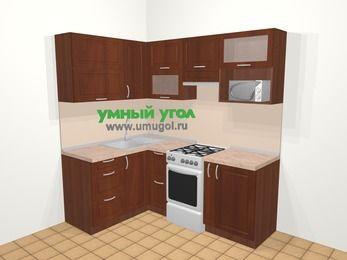 Угловая кухня МДФ матовый в классическом стиле 5,0 м², 140 на 200 см (зеркальный проект), Вишня темная, верхние модули 72 см, верхний модуль под свч, отдельно стоящая плита