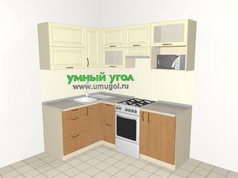 Угловая кухня из МДФ + ЛДСП 5,0 м², 1400 на 2000 мм (зеркальный проект), Ваниль / Ольха, верхние модули 720 мм, верхний модуль под свч, отдельно стоящая плита