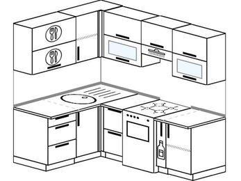 Угловая кухня 5,0 м² (1,4✕2,0 м), верхние модули 72 см, отдельно стоящая плита