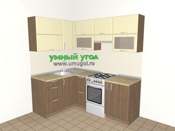 Угловая кухня МДФ матовый 5,0 м², 1400 на 2000 мм (зеркальный проект), Ваниль / Лиственница бронзовая, верхние модули 720 мм, отдельно стоящая плита