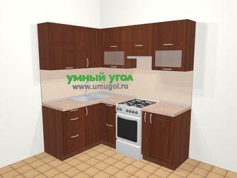 Угловая кухня МДФ матовый в классическом стиле 5,0 м², 140 на 200 см (зеркальный проект), Вишня темная, верхние модули 72 см, отдельно стоящая плита