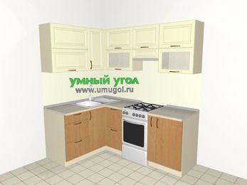 Угловая кухня из МДФ + ЛДСП 5,0 м², 1400 на 2000 мм (зеркальный проект), Ваниль / Ольха, верхние модули 720 мм, отдельно стоящая плита