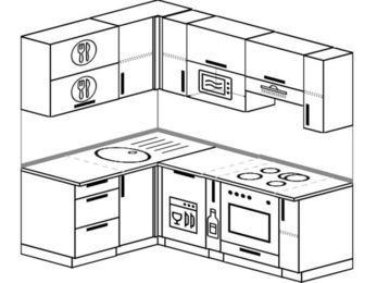 Угловая кухня 5,0 м² (1,4✕2,0 м), верхние модули 72 см, посудомоечная машина, верхний модуль под свч, встроенный духовой шкаф