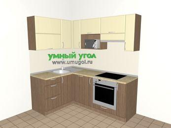 Угловая кухня МДФ матовый 5,0 м², 1400 на 2000 мм (зеркальный проект), Ваниль / Лиственница бронзовая, верхние модули 720 мм, посудомоечная машина, верхний модуль под свч, встроенный духовой шкаф