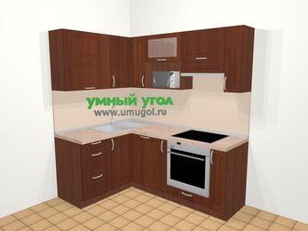 Угловая кухня МДФ матовый в классическом стиле 5,0 м², 140 на 200 см (зеркальный проект), Вишня темная, верхние модули 72 см, посудомоечная машина, верхний модуль под свч, встроенный духовой шкаф