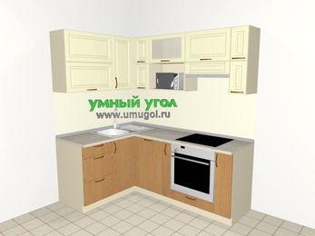 Угловая кухня из МДФ + ЛДСП 5,0 м², 1400 на 2000 мм (зеркальный проект), Ваниль / Ольха, верхние модули 720 мм, посудомоечная машина, верхний модуль под свч, встроенный духовой шкаф
