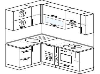 Угловая кухня 5,0 м² (1,4✕2,0 м), верхние модули 72 см, посудомоечная машина, встроенный духовой шкаф