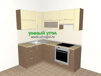 Угловая кухня МДФ матовый 5,0 м², 1400 на 2000 мм (зеркальный проект), Ваниль / Лиственница бронзовая, верхние модули 720 мм, посудомоечная машина, встроенный духовой шкаф