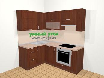 Угловая кухня МДФ матовый в классическом стиле 5,0 м², 140 на 200 см (зеркальный проект), Вишня темная, верхние модули 72 см, посудомоечная машина, встроенный духовой шкаф
