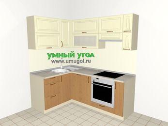 Угловая кухня из МДФ + ЛДСП 5,0 м², 1400 на 2000 мм (зеркальный проект), Ваниль / Ольха, верхние модули 720 мм, посудомоечная машина, встроенный духовой шкаф