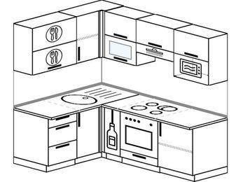 Планировка угловой кухни 5,0 м², 1400 на 2000 мм (зеркальный проект): верхние модули 720 мм, корзина-бутылочница, встроенный духовой шкаф, верхний модуль под свч