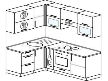Угловая кухня 5,0 м² (1,4✕2,0 м), верхние модули 72 см, встроенный духовой шкаф