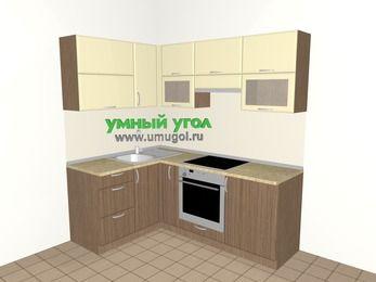 Угловая кухня МДФ матовый 5,0 м², 1400 на 2000 мм (зеркальный проект), Ваниль / Лиственница бронзовая, верхние модули 720 мм, встроенный духовой шкаф
