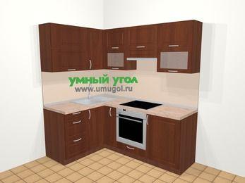 Угловая кухня МДФ матовый в классическом стиле 5,0 м², 140 на 200 см (зеркальный проект), Вишня темная, верхние модули 72 см, встроенный духовой шкаф