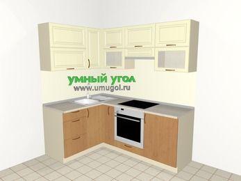 Угловая кухня из МДФ + ЛДСП 5,0 м², 1400 на 2000 мм (зеркальный проект), Ваниль / Ольха, верхние модули 720 мм, встроенный духовой шкаф