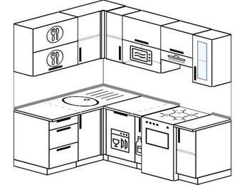 Угловая кухня 5,0 м² (1,4✕2,0 м), верхние модули 72 см, посудомоечная машина, верхний модуль под свч, отдельно стоящая плита