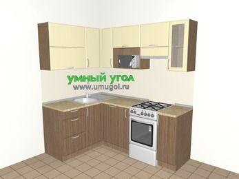 Угловая кухня МДФ матовый 5,0 м², 1400 на 2000 мм (зеркальный проект), Ваниль / Лиственница бронзовая, верхние модули 720 мм, посудомоечная машина, верхний модуль под свч, отдельно стоящая плита