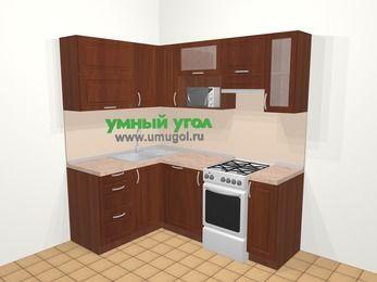Угловая кухня МДФ матовый в классическом стиле 5,0 м², 140 на 200 см (зеркальный проект), Вишня темная, верхние модули 72 см, посудомоечная машина, верхний модуль под свч, отдельно стоящая плита