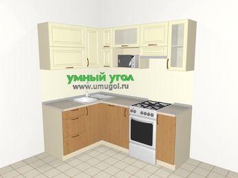 Угловая кухня из МДФ + ЛДСП 5,0 м², 1400 на 2000 мм (зеркальный проект), Ваниль / Ольха, верхние модули 720 мм, посудомоечная машина, верхний модуль под свч, отдельно стоящая плита