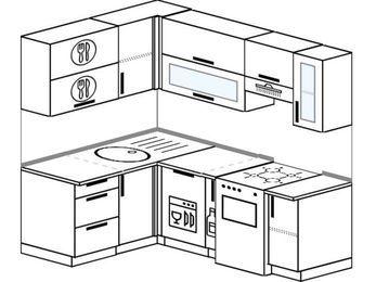 Угловая кухня 5,0 м² (1,4✕2,0 м), верхние модули 72 см, посудомоечная машина, отдельно стоящая плита