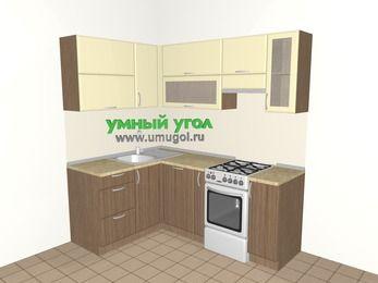 Угловая кухня МДФ матовый 5,0 м², 1400 на 2000 мм (зеркальный проект), Ваниль / Лиственница бронзовая, верхние модули 720 мм, посудомоечная машина, отдельно стоящая плита