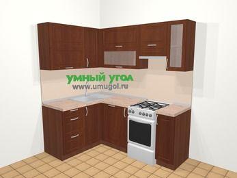 Угловая кухня МДФ матовый в классическом стиле 5,0 м², 140 на 200 см (зеркальный проект), Вишня темная, верхние модули 72 см, посудомоечная машина, отдельно стоящая плита