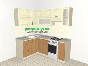 Угловая кухня из МДФ + ЛДСП 5,0 м², 1400 на 2000 мм (зеркальный проект), Ваниль / Ольха, верхние модули 720 мм, посудомоечная машина, отдельно стоящая плита