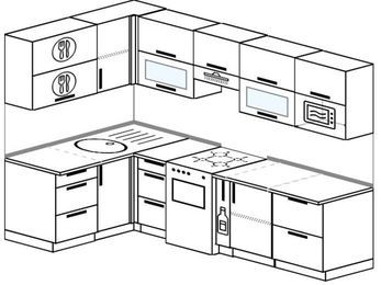 Угловая кухня 5,9 м² (1,4✕2,6 м), верхние модули 72 см, модуль под свч, отдельно стоящая плита